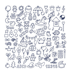 collection of hand drawn cute doodles doodle vector image vector image