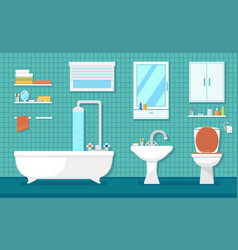 furnishing bathroom interior vector image vector image
