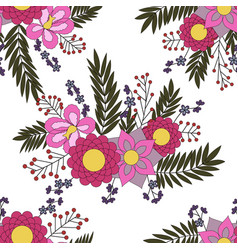 Seamless pattern with abstract flower elements vector