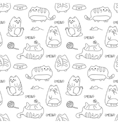 seamless texture with kawaii cat and vector image