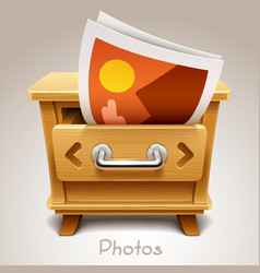 wooden drawer for photos icon vector image vector image