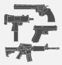 4 gun line drawings vector