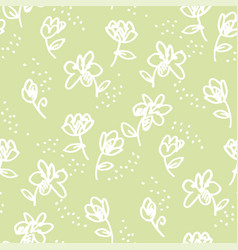 abstract flowers felt-tip pen seamless pattern vector image
