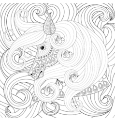 adult coloring book with gorse head with long vector image