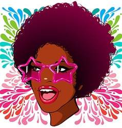 african-american disco glasses with stars vector image