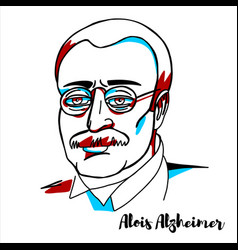 Alois alzheimer portrait vector