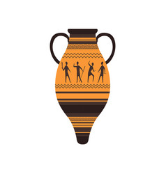 ancient amphora with traditional roman ornament vector image