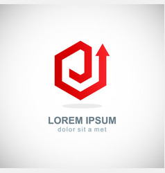 arrow up polygon rising company logo vector image