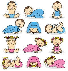 Baby boys and baby girls vector