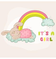 Baby bunny on a rainbow - shower card vector
