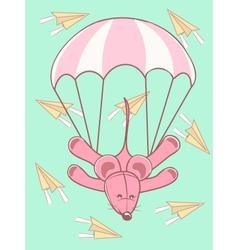 Baby card parachute jump vector image