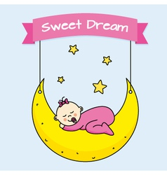 Baby girl sleeping on the moon vector
