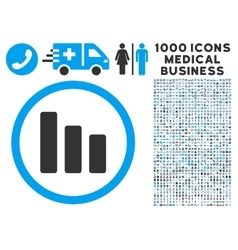 Bar Chart Decrease Icon with 1000 Medical Business vector
