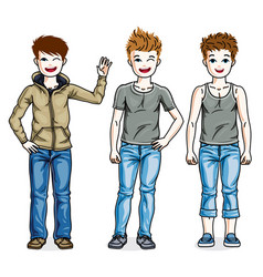 Beautiful little boys cute children standing vector