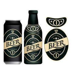 beer label on beer can and bottle vector image