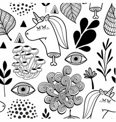 black and white seamless pattern with head of dead vector image