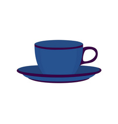 Blue ceramic teacup vector