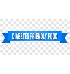 Blue ribbon with diabetes friendly food text vector