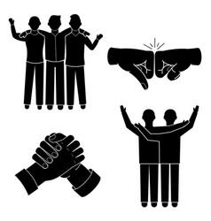 Brotherhood icon set simple style vector