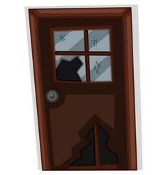 Brown door with broken window vector