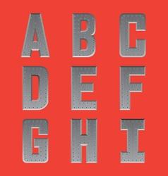 Brushed metal font series 1 A-I vector image