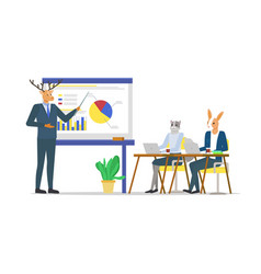 Business seminar coach hipster animal and students vector