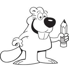 Cartoon beaver holding a pencil vector image