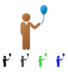 child with balloon flat gradient icon vector image