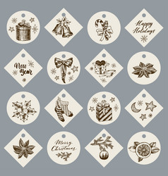 christmas gift cards or tags with lettering hand vector image