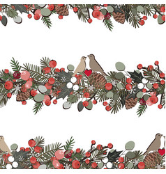 christmas seamless pattern with fir tree branches vector image