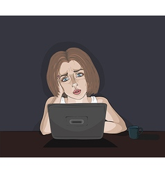Concerned white girl and computer vector