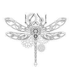 Contour mechanical dragonfly vector