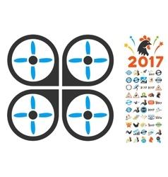 Copter Icon With 2017 Year Bonus Symbols vector image