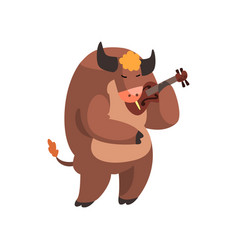 cow playing the violin cute musician animal vector image