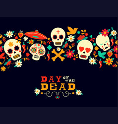 Day of the dead flower sugar skull background vector