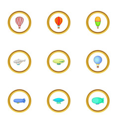Different airships icons set cartoon style vector