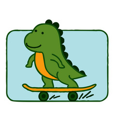 dinosaur riding skateboard cartoon vector image