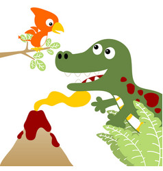 dinosaurs live with volcano on white background vector image