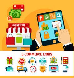 E-commerce flat icons set vector