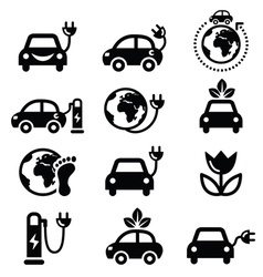 Electric car green or eco transport icons set vector