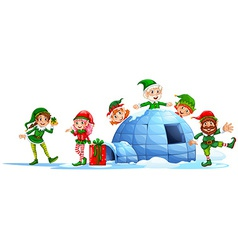 Elves playing outside the igloo vector image