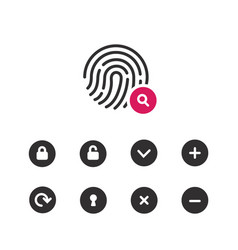 fingerprint scaner icons set vector image