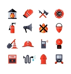 Fire department decorative icons vector