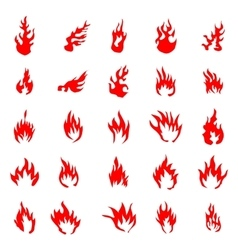 Fire flames silhouette set vector