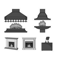 fire warmth and comfortfireplace set collection vector image