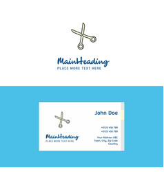 flat scissor logo and visiting card template vector image