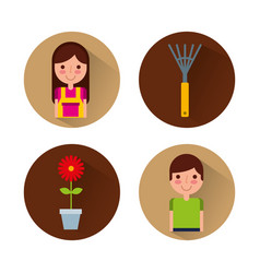 Gardener with cute garden vector