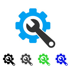 Gear and wrench flat icon vector