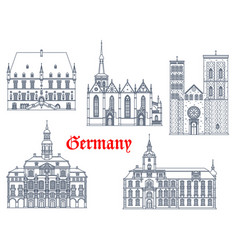 Germany landmarks architecture cathedrals icons vector