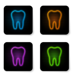 glowing neon tooth icon isolated on white vector image